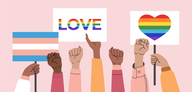 Tłum ludzi trzymających plakaty lgbt, transpłciowe i tęcze na paradzie gejów.