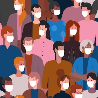 Tłum ludzi w białej masce medycznej chroniącej przed kwarantanną koronawirusa