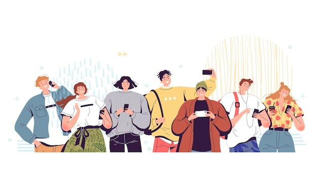 Tłum ludzi z telefonami młodzi mężczyźni i kobiety trzymają telefony komórkowe w rękach i używają ich do różnych celów uzależnienie od telefonów i sieci społecznościowych współczesnej młodzieży