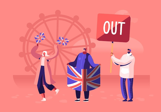 Tłum ludzi z tradycyjnymi brytyjskimi flagami na demonstrację przeciwko opuszczeniu unii europejskiej przez wielką brytanię. płaskie ilustracja kreskówka
