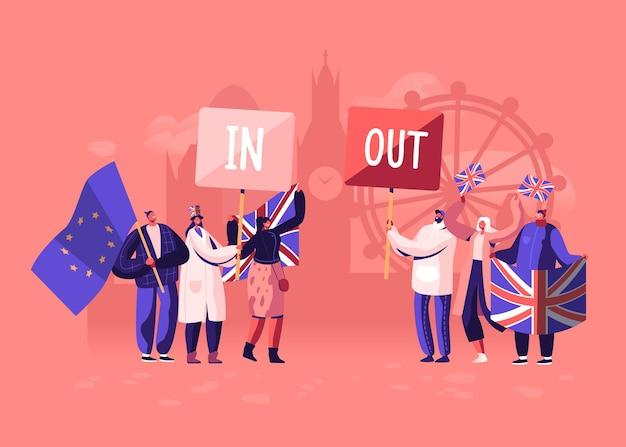 Tłum ludzi z tradycyjnymi flagami wielkiej brytanii i unii europejskiej rozdzielonymi podczas demonstracji brexitu i zwolenników anty brexit. płaskie ilustracja kreskówka