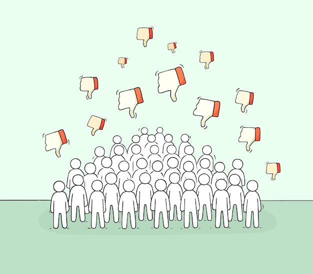Tłum małych ludzi z ilustracjami antypatii