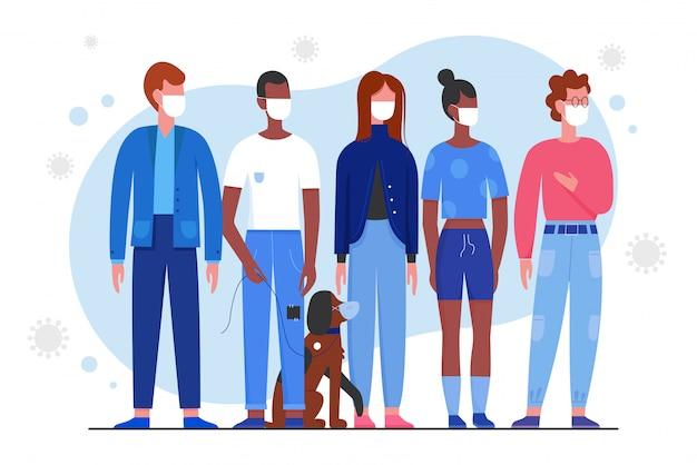 Tłum młodych ludzi w medycznych maski charakter płaski ilustracja. mężczyzna, kobieta i pies stoją razem, używaj maski, aby chronić oddech przed wirusem covid 19 w powietrzu.