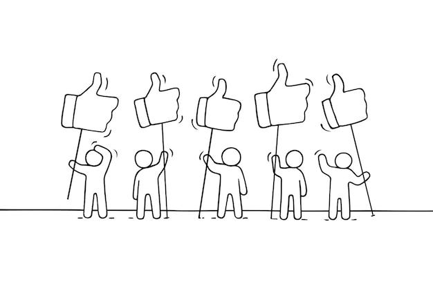 Tłum pracujących małych ludzi z podobnymi śpiewa. ręcznie rysowane kreskówki