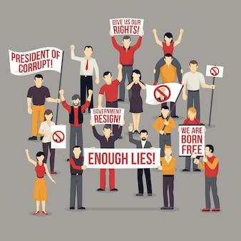 Tłum protestuje ludzi ilustracyjnych