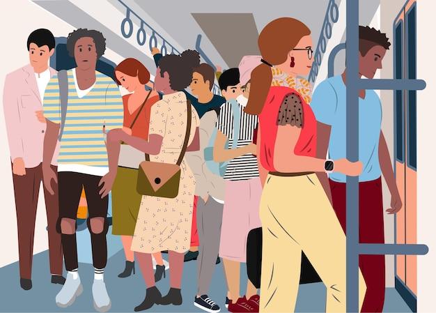 Tłum w pociągu metra ludzie pchający się w samochodzie metra na stacji w godzinach szczytu miasto podróżujące koncepcja wektora problemu transportu