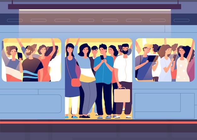 Tłum w pociągu metra