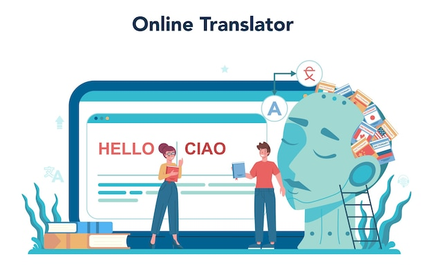Tłumacz i usługa tłumaczeń usługa lub platforma online