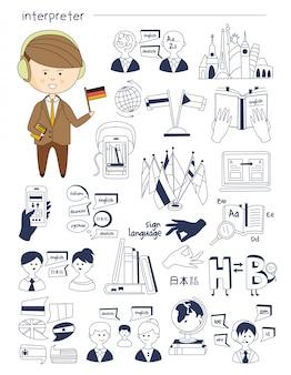 Tłumacz ustny, językoznawca, nauczyciel, korepetytor duży zestaw stylu doodle