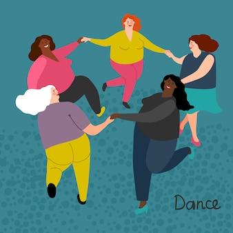 Tłuste międzynarodowe kobiety dostają taniec ilustracji