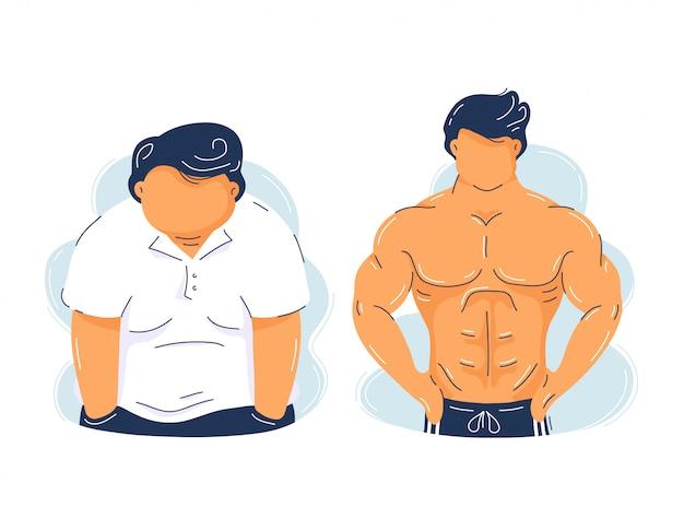 Tłuszczowa otyłość i silny, muskularny mężczyzna. modny płaski charakter ilustracja. na białym tle. kulturystyka mięśni rośnie, przed i po koncepcji