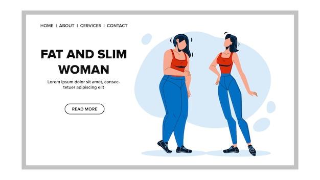 Tłuszczu i szczupła kobieta rysunek przed i po