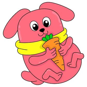 Tłuszczu króliczek bawi się marchewką na jedzenie, wektor ilustracja sztuki. doodle ikona obrazu kawaii.