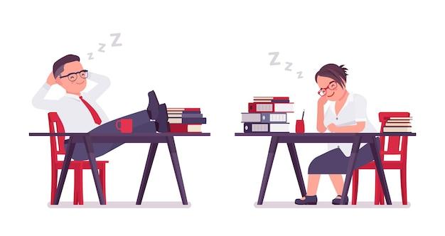Tłuszczu mężczyzna i kobieta śpi, odpoczywając przy biurku. ciężcy ludzie biznesu w średnim wieku, kierownik biura i pracownik służby cywilnej, typowy pracownik. ilustracja kreskówka wektor płaski