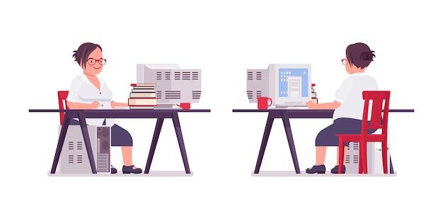 Tłuszczu urzędniczka pracuje przy biurku komputerowym. ciężka biznesowa dama w średnim wieku, kierownik biura i pracownik służby cywilnej, typowy pracownik w stroju wizytowym plus size. ilustracja kreskówka wektor płaski