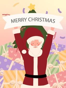 Tmplate kartek świątecznych z postacią z kreskówki świętego mikołaja