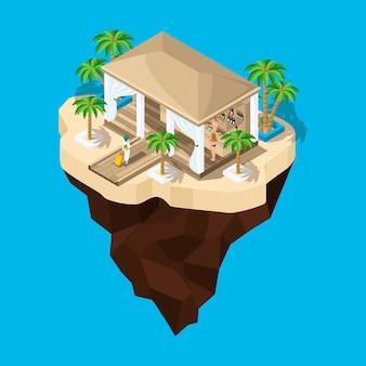 To bajkowa wyspa, kreskówka, dziewczyna z walizką idzie do hotelu, krajobraz gry. wakacje w ciepłych krajach