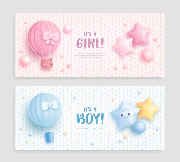 To banery baby shower dla chłopca lub dziewczynki