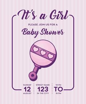 To dziewczynka-baby shower zaproszenie z ikoną grzechotka na fioletowym tle, kolorowy design. wektor i