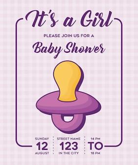 To dziewczynka-baby shower zaproszenie z ikoną smoczek na fioletowym tle, kolorowy design. wektor