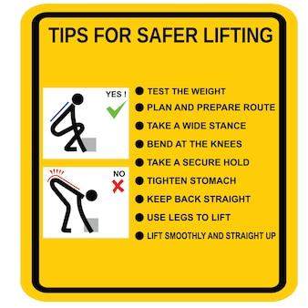 To jest plakat wskazówki dotyczące bezpieczniejszego podnoszenia etykiety i wektora naklejki