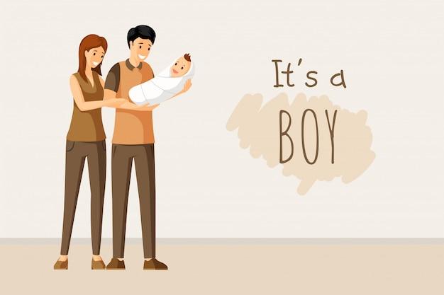 To koncepcja chłopca. zaproszenie na chrzciny, rodzicielstwo, wspólnoty, projekt karty szczęśliwy dzień rodziców.