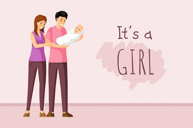 To koncepcja dziewczyny. zaproszenie na chrzciny, rodzicielstwo, wspólnoty, projekt karty szczęśliwy dzień rodziców.