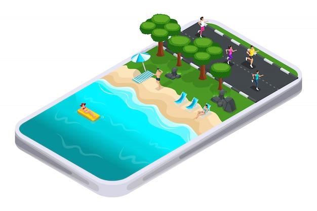 To koncepcja wyboru miejsca do treningu za pomocą aplikacji sportowej na smartfona, w internecie, sportowców. nowoczesne technologie i gadżety