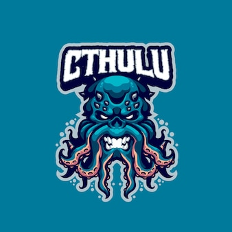 To logo maskotki cthulhu. logo to może być używane w przypadku logo sportu, streamerów, gier i esport.