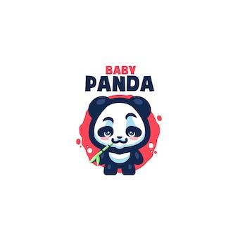 To logo maskotki cute baby panda. to logo może być używane w przypadku logo restauracji, żywności i napojów, biznesu lub firmy.