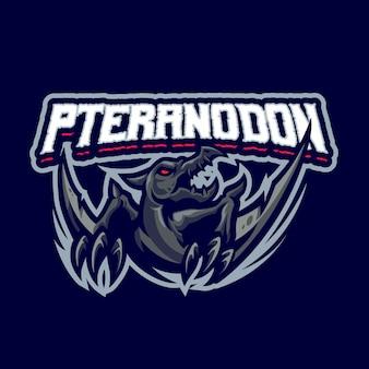 To logo maskotki pteranodon. logo to może być używane w przypadku logo sportu, streamerów, gier i esport.