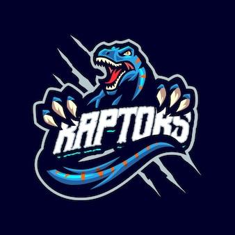 To logo maskotki raptors. logo to może być używane w przypadku logo sportu, streamerów, gier i esport.