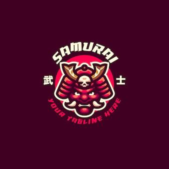 To logo maskotki samurai mask. logo to może być używane w przypadku logo sportu, streamerów, gier i esport.