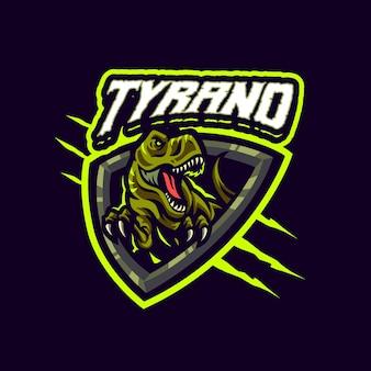 To logo maskotki tyrannosaurus rex. logo to może być używane w przypadku logo sportu, streamerów, gier i esport.
