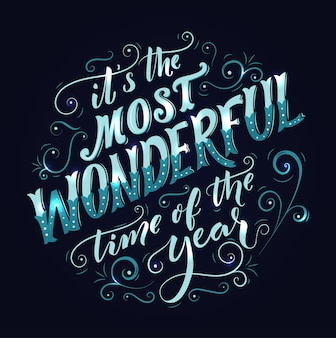 To najwspanialszy czas w roku, w którym wiruje napis i kaligrafia vintage kartka z życzeniami!