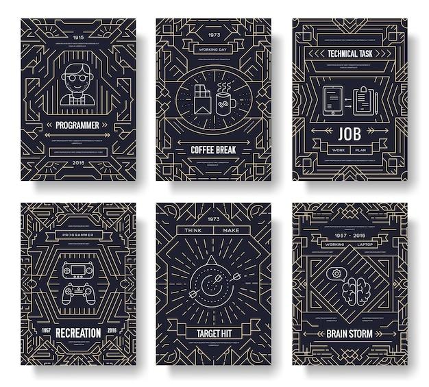 To zestaw kart broszurowych cienkich linii maniaków