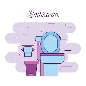 Toaleta łazienka i kosza na śmieci