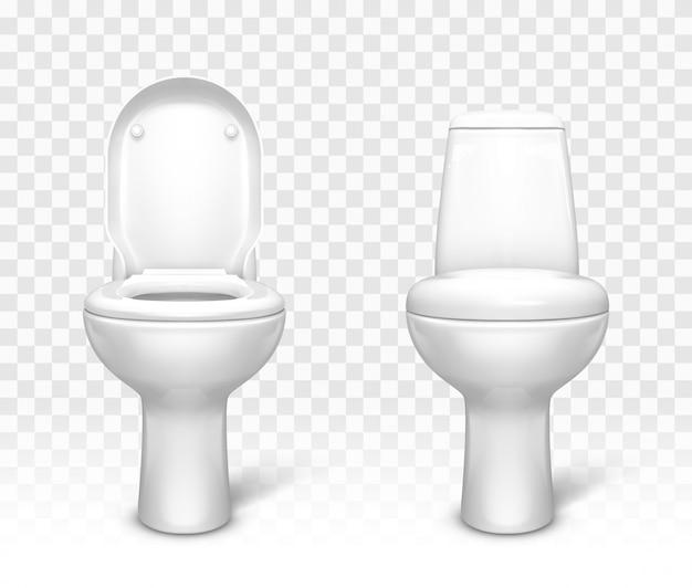 Toaleta z zestawem siedzeń. biała ceramiczna miska ustępowa