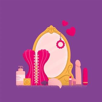 Toaletka z lustrem. koncepcja buduaru. ilustracja wektorowa