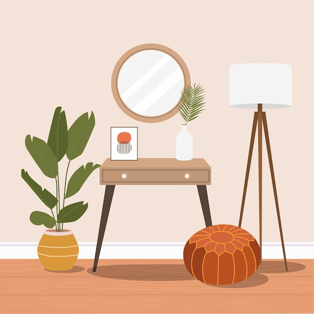 Toaletka z lustrem. przytulne wnętrze domu. ilustracja kreskówka płaska