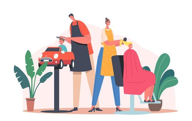 Toddlers barbershop, koncepcja piękna dziecka. salon fryzjerski dla dzieci, mistrzowskie strzyżenie włosów i robienie fryzur dla małego chłopca i nastolatki siedzącej na krzesłach. ilustracja wektorowa kreskówka ludzie