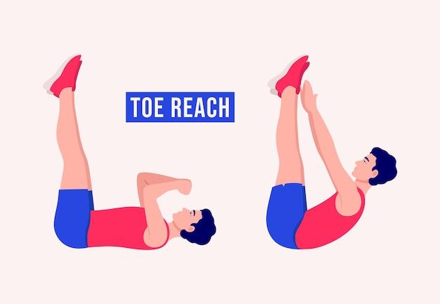 Toe reach ćwiczenie kobieta trening fitness aerobik i ćwiczenia