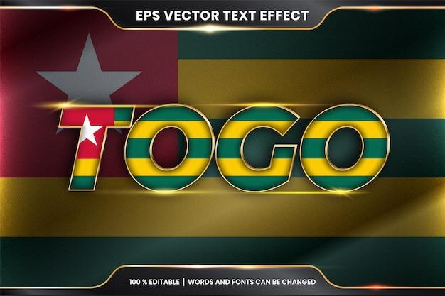 Togo z flagą narodową kraju, edytowalny efekt tekstowy ze złotym kolorem