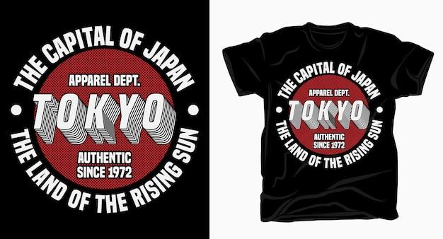Tokio, stolica japonii, projekt typografii do nadruku na koszulkach