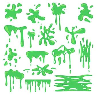 Toksyczny zestaw płaski różnych zielonych szlamów