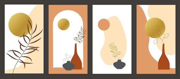 Ton ziemi boho liści grafika liniowa rysunek z abstrakcyjnym kształtem organicznym wektor zestaw teł