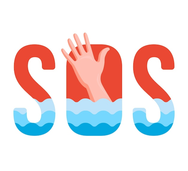 Tonący człowiek w wodzie. podpisać sos. ilustracja wektorowa
