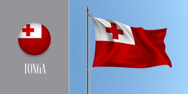 Tonga macha flagą na maszcie i okrągłą ikonę. realistyczne 3d z biało-czerwoną flagą tonga i przycisk koła