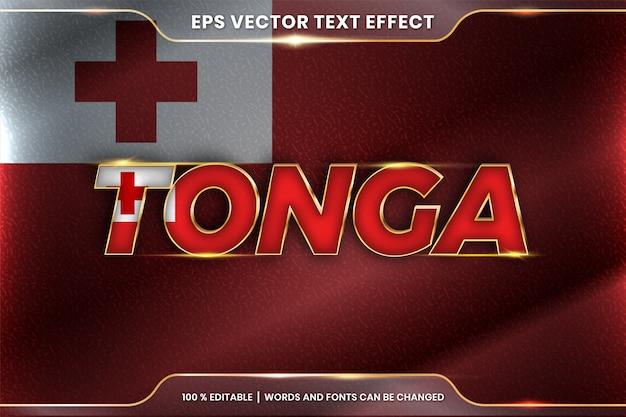 Tonga z flagą narodową kraju, styl edytowalnego efektu tekstowego z koncepcją gradientu koloru złota
