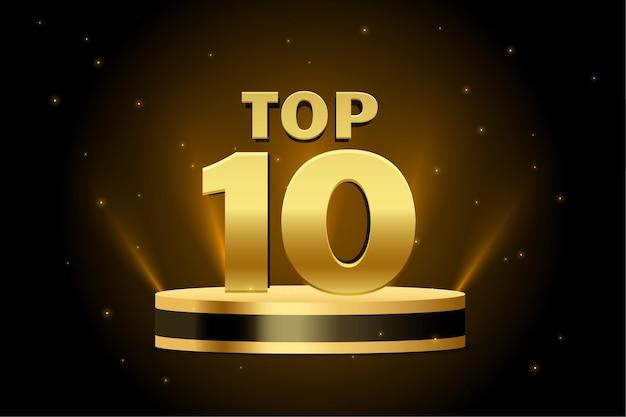 Top 10 najlepszych złotych podium w tle